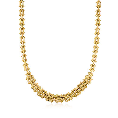 Italian 14kt Yellow Gold Graduated Panther-Link Necklace