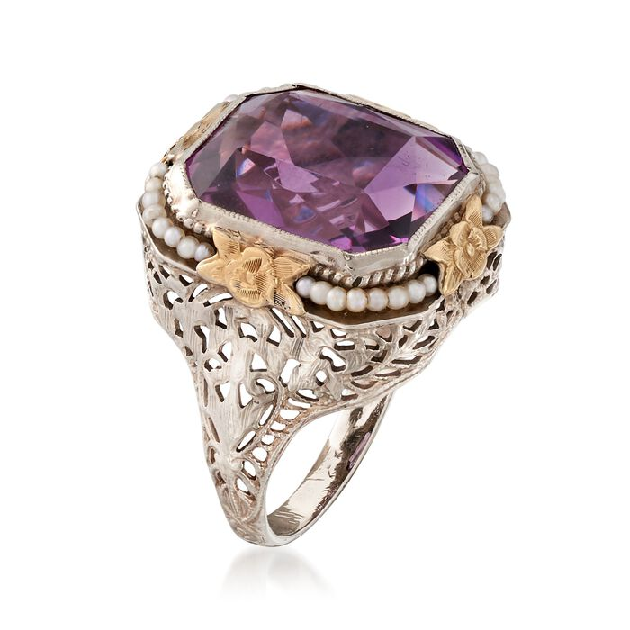 C. 1950 Vintage 7.50 Carat Amethyst Ring with Cultured Seed Pearls in 14kt Two-Tone Gold