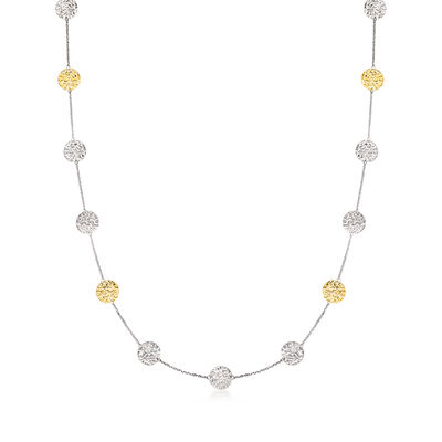 14kt Yellow Gold and Sterling Silver Station Necklace