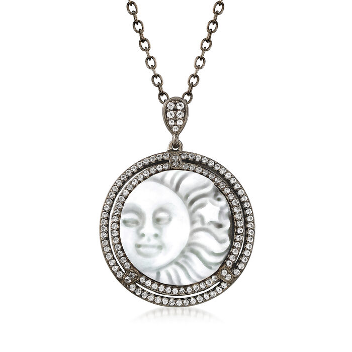 Shell Cameo and .65 ct. t.w. White Topaz Necklace in Sterling Silver