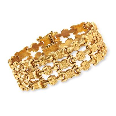 C. 1990 Vintage 18kt Yellow Gold Triple-Row Flower-Link Bracelet, , default