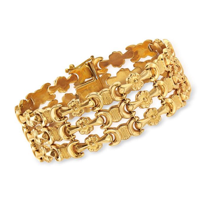 "C. 1990 Vintage 18kt Yellow Gold Triple-Row Flower-Link Bracelet. 7.75"", , default"