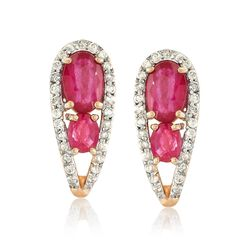 "1.41 ct. t.w. Ruby and .27 ct. t.w. Diamond U-Shaped Hoop Earrings in 14kt Yellow Gold. 1/2"", , default"