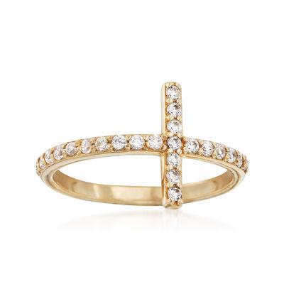 .35 ct. t.w. CZ Sideways Cross Ring in 14kt Yellow Gold, , default