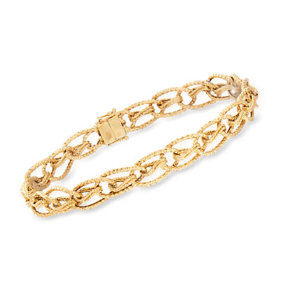 14kt Yellow Gold Oval-Link Bracelet with Magnetic Clasp, , default
