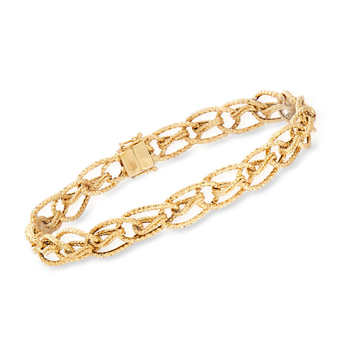 """14kt Yellow Gold Oval-Link Bracelet with Magnetic Clasp. 8"""", , default"""