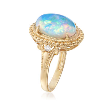 Oval Cabochon Opal Ring in 14kt Yellow Gold with Diamond Accents