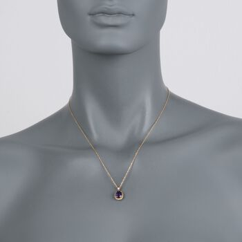 "1.70 Carat Amethyst Pendant Necklace in 14kt Yellow Gold. 18"", , default"