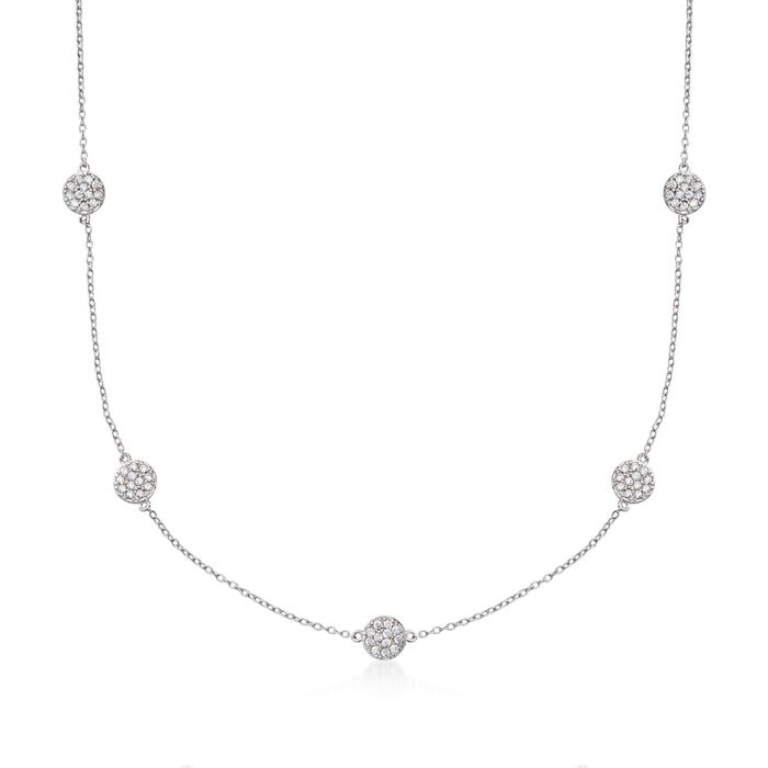 ".80 ct. t.w. CZ Station Necklace in Sterling Silver. 16"", , default"