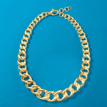 """Italian Andiamo 14kt Yellow Gold Graduated Curb-Link Necklace. 19.5"""", , default"""
