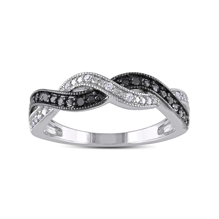 .10 ct. t.w. Black and White Diamond Braid Ring in Sterling Silver, , default