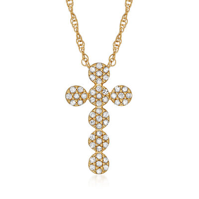 .25 ct. t.w. Diamond Cluster Cross Necklace in 18kt Gold Over Sterling