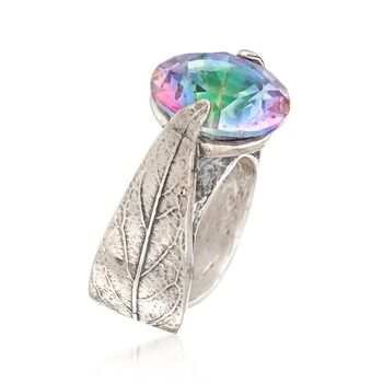 14mm Simulated Multicolored Quartz Leaf Ring in Sterling Silver. Size 6, , default