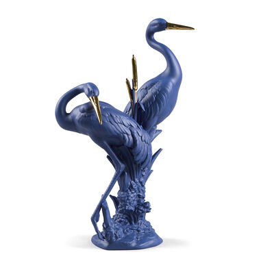 Lladro Courting Cranes Blue and Gold Porcelain Bird Figurine, , default