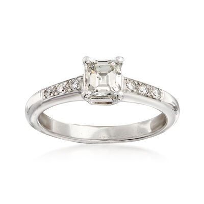 C. 1980 Vintage .62 ct. t.w. Princess-Cut and Round Diamond Ring in Platinum, , default