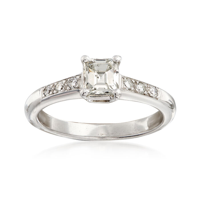 C. 1980 Vintage .62 ct. t.w. Princess-Cut and Round Diamond Ring in Platinum. Size 5.25, , default