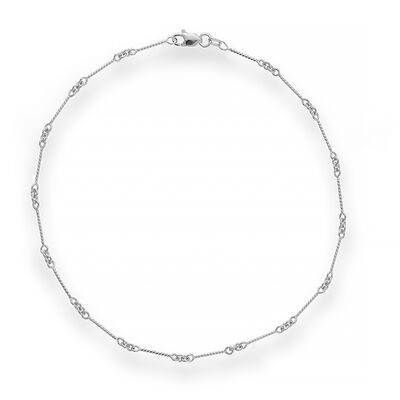 14kt White Gold Twist Bar Cable Chain Anklet, , default