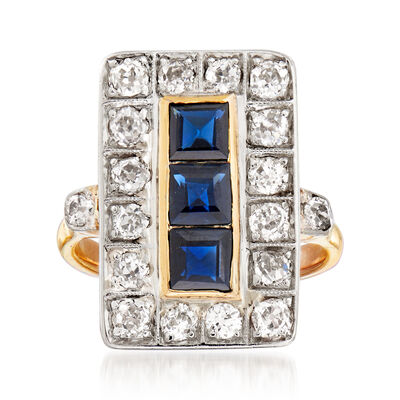 C. 1930 Vintage 1.20 ct. t.w. Sapphire and 1.10 ct. t.w. Diamond Ring in 14kt Yellow Gold and Platinum, , default