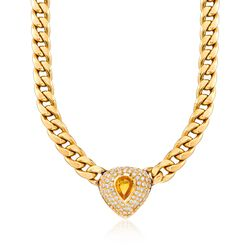 "C. 1980 Vintage 3.00 Carat Citrine and 5.70 ct. t.w. Diamond Curb Link Necklace in 18kt Yellow Gold. 17.25"", , default"