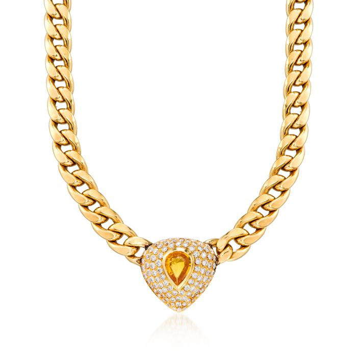 """C. 1980 Vintage 3.00 Carat Citrine and 5.70 ct. t.w. Diamond Curb Link Necklace in 18kt Yellow Gold. 17.25"""", , default"""