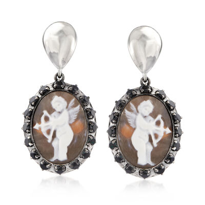 Italian 2.50 ct. t.w. CZ and 20x15mm Cameo Drop Earrings in Sterling Silver, , default