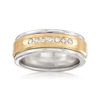 Men's .24 ct. t.w. Diamond Wedding Ring in 14kt Yellow Gold and Tungsten Carbide, , default