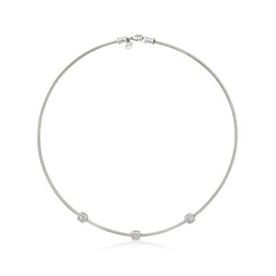 "ALOR ""Classique"" .14 ct. t.w. Diamond Station Grey Cable Necklace with 18kt White Gold, , default"
