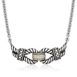 "Andrea Candela Diamond Knot Necklace in Two-Tone. 17"", , default"