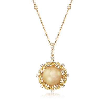 12-12.5mm Golden Cultured South Sea Pearl and .55 ct. t.w. Diamond Pendant Necklace in 18kt Yellow Gold