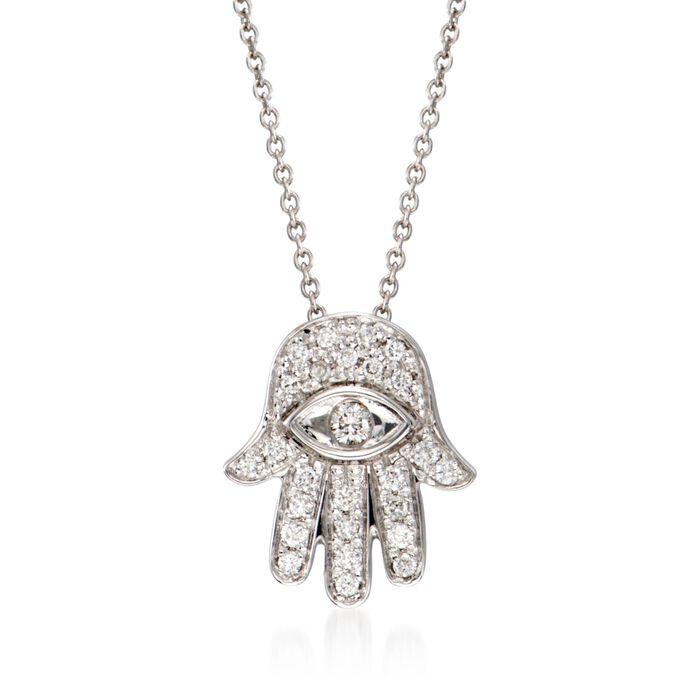 """Roberto Coin .18 ct. t.w. Diamond """"Hamsa"""" Pendant Necklace in 18kt White Gold"""