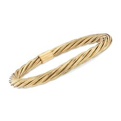 Italian Twisted Flex Bangle Bracelet With 18kt Gold Over Sterling, , default