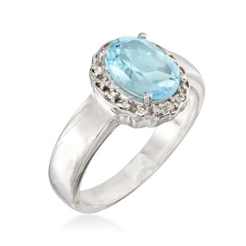 2.30 Carat Blue Topaz Ring With White Topaz Accents in Sterling Silver, , default