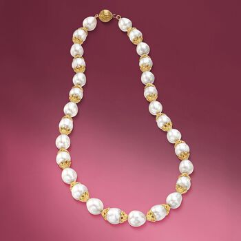 """10-12mm Cultured Pearl Necklace With Lacy 18kt Gold Over Sterling Caps. 18"""", , default"""
