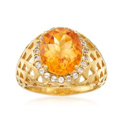 4.00 Carat Citrine and .30 ct. t.w. White Topaz Woven Ring in 18kt Gold Over Sterling, , default