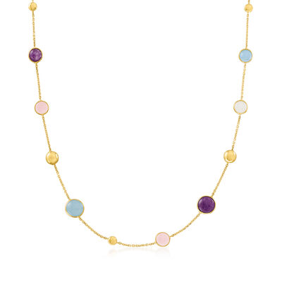 Italian 8.00 ct. t.w. Multi-Gemstone Station Necklace in 14kt Yellow Gold
