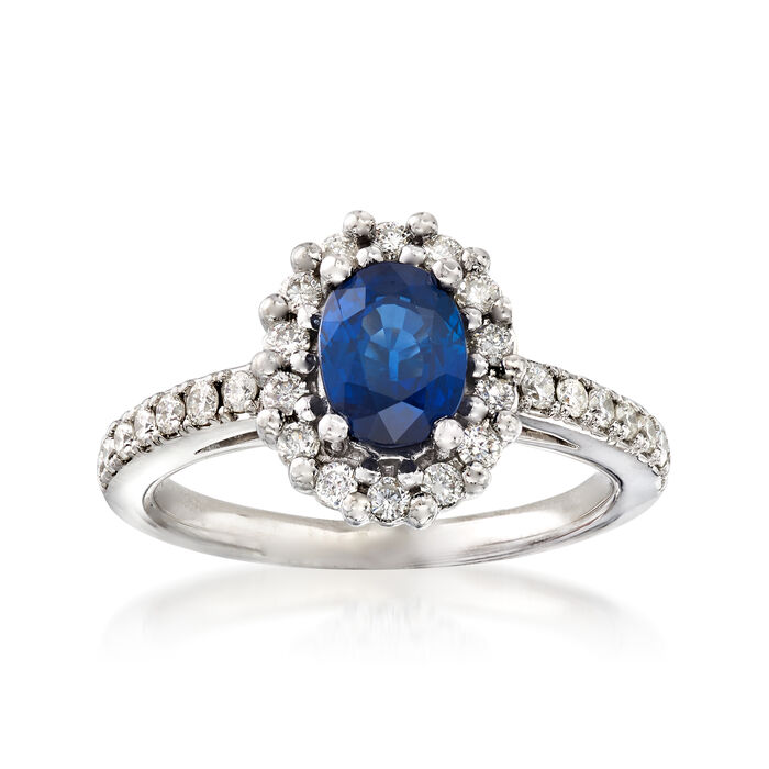 C. 1990 Vintage 1.10 Carat Blue Topaz and .50 ct. t.w. Diamond Ring in 14kt White Gold. Size 5.25, , default