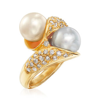 C. 1990 Vintage 8.5mm Cultured Pearl and .60 ct. t.w. Bypass Ring in 18kt Yellow Gold. Size 6
