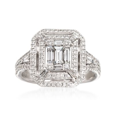 Simon G. .98 ct. t.w. Diamond Ring in 18kt White Gold, , default
