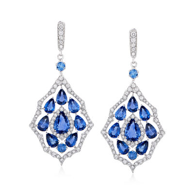 10.50 ct. t.w. Sapphire and 1.91 ct. t.w. Diamond Drop Earrings in 14kt White Gold