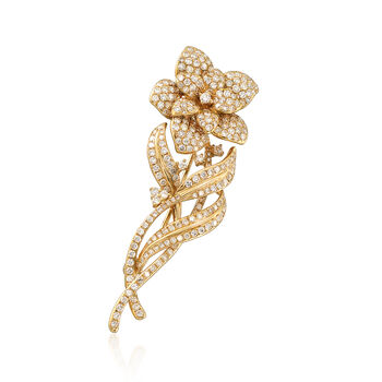 2.80 ct. t.w. Diamond Flower Pin Pendant in 18kt Yellow Gold, , default