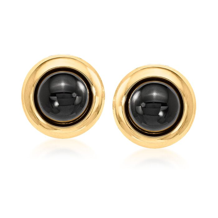 12mm Black Onyx Clip-On Earrings in 14kt Yellow Gold, , default