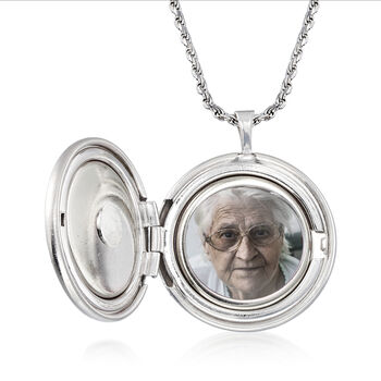 """""""In Loving Memory"""" Rose Memorial and Photo Locket Pendant Necklace in Sterling Silver"""