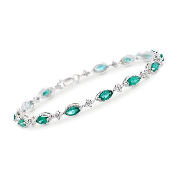"3.20 ct. t.w. Emerald and .40 ct. t.w. Diamond Bracelet in 14kt White Gold. 7"", , default"