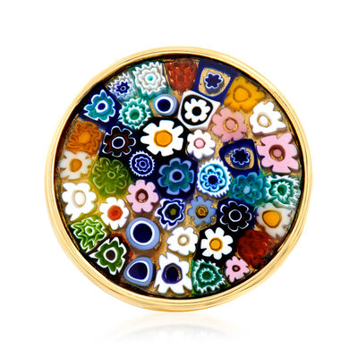 Italian Murano Millefiori Round-Top Ring in 18kt Gold Over Sterling