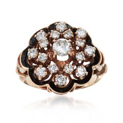 C. 1950 Vintage 1.05 ct. t.w. Diamond Cluster Ring With Black Enamel in 14kt Yellow Gold. Size 4.25, , default