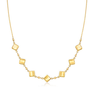 14kt Yellow Gold Diamond-Shaped and Beaded Necklace, , default