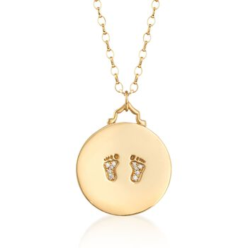 "Monica Rich Kosann 18kt Yellow Gold Baby Feet Disc Pendant Necklace With Diamond Accents. 32"", , default"