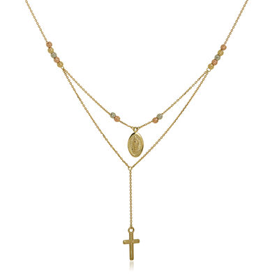 14kt Tri-Colored Gold Duo Virgin Mary and Cross Necklace, , default