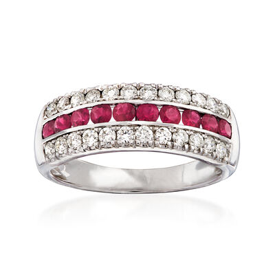.53 ct. t.w. Diamond and .50 ct. t.w. Ruby Ring in 18kt White Gold, , default