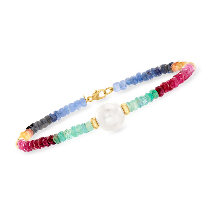 22.00 ct. t.w. Multicolored Sapphire and 9.5-10.5mm Cultured Pearl Bracelet in 14kt Yellow Gold